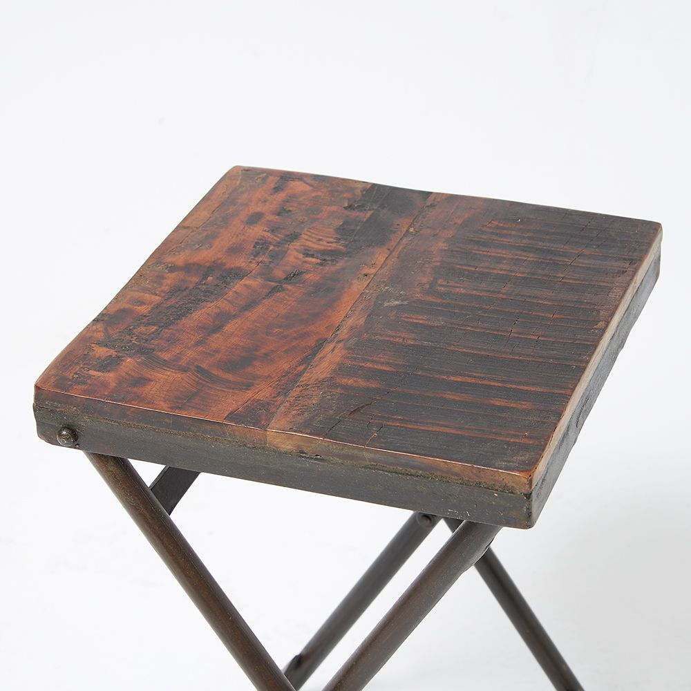 Reclaimed Wood Stool Side Table